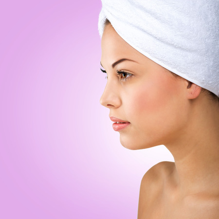profile picture: Beautiful woman, head towel, profile picture Stock Photo