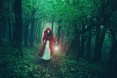 Little Red Riding Hood in the woods