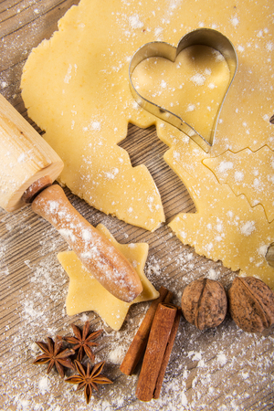 Christmas baking, cookies, rolling pin, spices photo