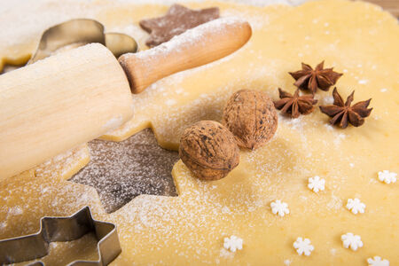 christmas baking: Christmas baking, cookies, rolling pin, anise, walnuts,
