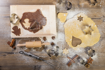 providing: Christmas baking, all on the table: pasta, cake form, meal, providing wood, spices