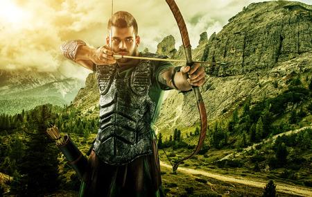 arco y flecha: La caza de tiro con arco de destino profesional en el primer bosque