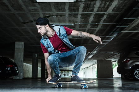 skateboard: Professional skateboarder in the subway