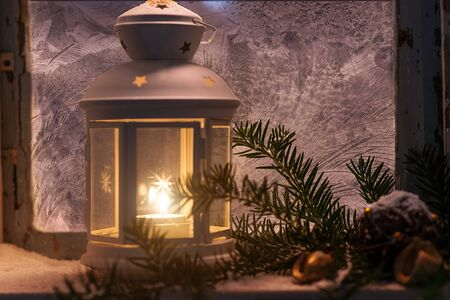 christmas candles: Christmas - candles glow in the steamy window Stock Photo