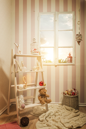 ladder: Christmas decoration, room decorated ladder Stock Photo