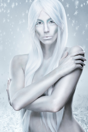 ice queen: Ice queen - the background frosty, icy, frozen