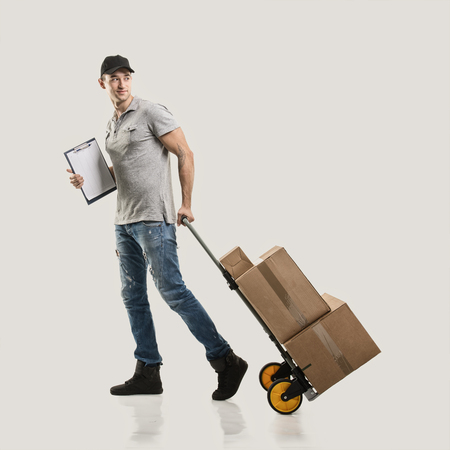 delivery box: Courier handcart pull boxes and packages