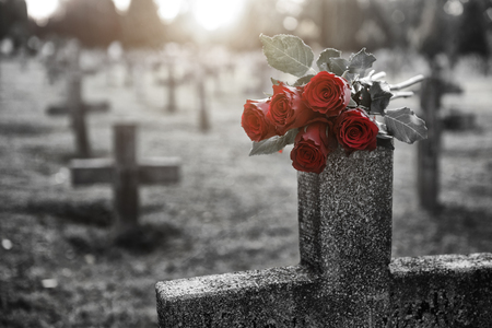 There are plenty of tombstones in the cemetery Stock Photo - 87343238