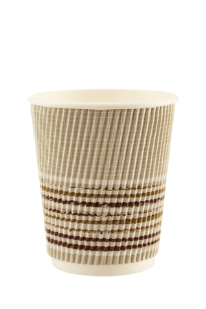 takeout: Take-out coffee in thermo paper cup Isolated on a white background Stock Photo