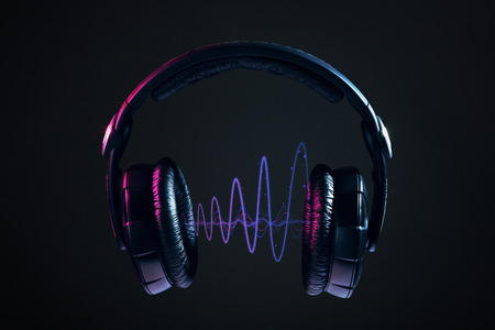 Dj のヘッドフォンと黒い背景に分離されたディスコの波