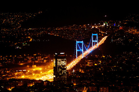 mehmet: City lights. Night view above Istanbul, Turkey Stock Photo