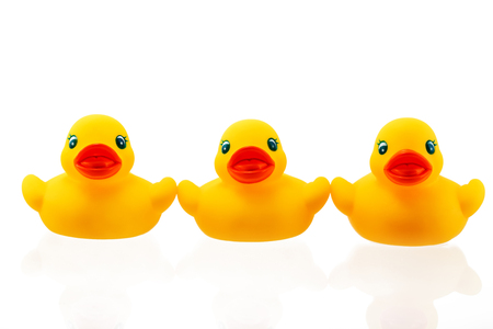 ducky: Yellow rubber ducky isolated on white background