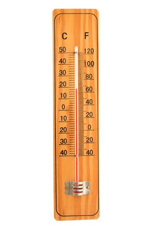 termómetro: termómetro de madera aislado en fondo blanco