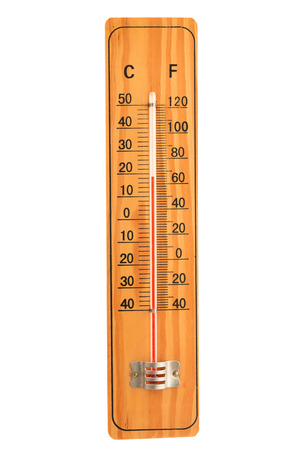 old mercury: wooden thermometer isolated on white background Stock Photo