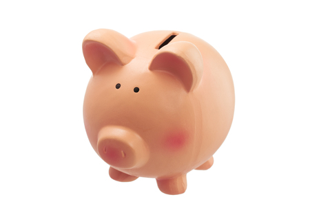 piggy: Funny piggy bank isolated on white background