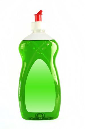 lavar platos: Lavaplatos detergente l�quido aislado sobre fondo blanco Foto de archivo