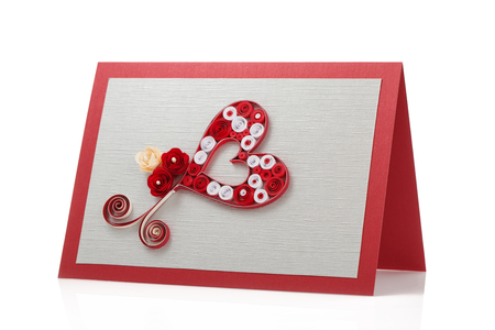 quilling: Quilling decoration, beautiful card isolated on white background