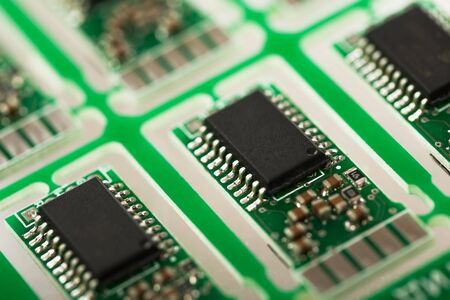 detail internet computer: Closeup of electronic circuit board with processor Stock Photo