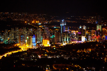 fatih: City lights and Night view above Istanbul Turkey