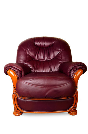 brown leather sofa: Brown Leather Sofa isolated on white background, with clipping path Archivio Fotografico