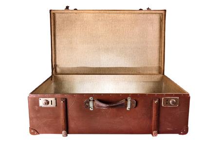 흰색 배경에 빈티지 가방의 내부 조명, 격리 스톡 콘텐츠