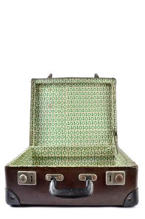 travel luggage: Empty Vintage Suitcase isolated on white background Stock Photo