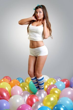 baloons: Surprised Beatiful girl with baloons portrait