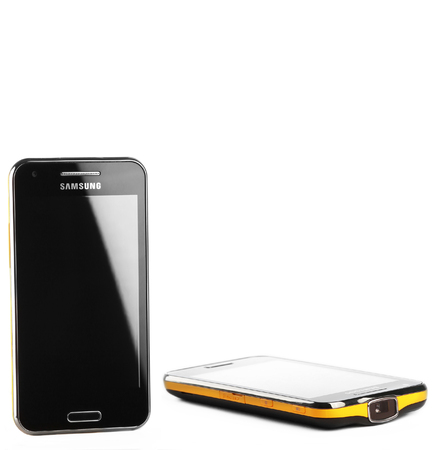 tft: Varna, Bulgaria - July 25, 2012: Cell phone model Samsung I8530 Galaxy Beam has TFT capacitive touchscreen, Android OS, v2.3.6 (Gingerbread) and projector capability. Announced 2012, February.