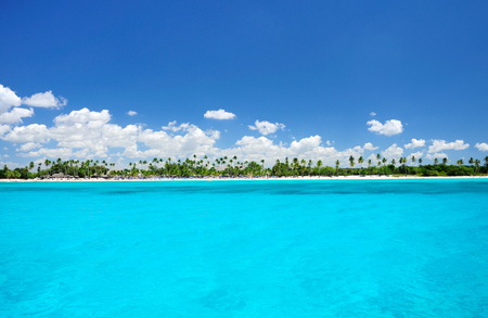 Carribean sea and exotic coastline landscape, Punta Cana, Dominican Republic Imagens