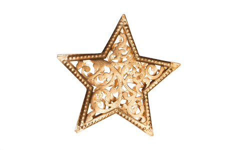 star ornament: Golden glittering star shaped Christmas ornament isolated on white background Stock Photo