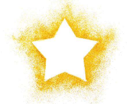 star shapes: Christmas star. Decoration of golden confetti stars against white background