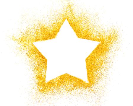 estrellas de navidad: Estrella de Navidad. Decoración de confeti estrellas doradas sobre fondo blanco