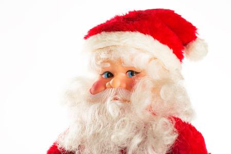 plastic christmas tree: Figure of Santa Claus isolated on white background Stock Photo