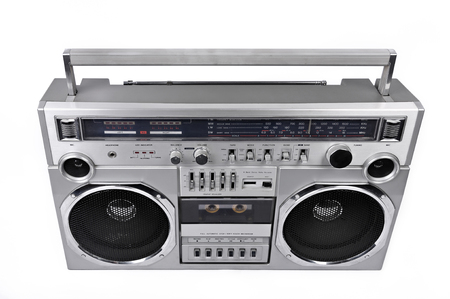 boom box: 1980s Silver retro radio boom box with isolated on white background