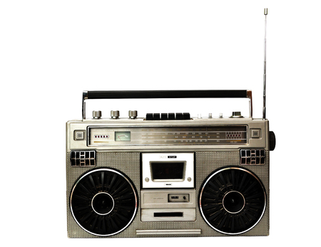 rap music: Retro ghetto blaster isolated on white Stock Photo