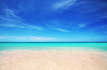 dominican: Beautiful carribean sea and cloudscape Stock Photo