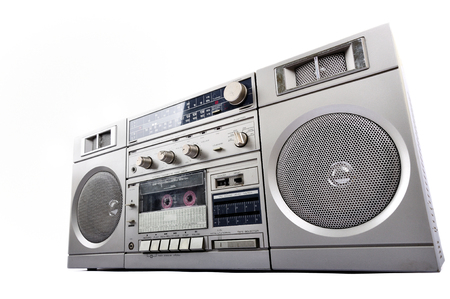 boom box: 1980s Silver radio boom box isolated on white background Stock Photo
