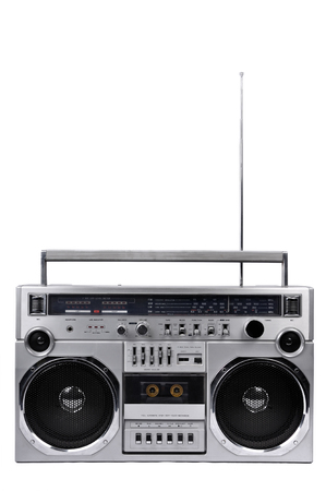 boom box: 1980s Silver retro radio boom box with antenna up isolated on white background Stock Photo
