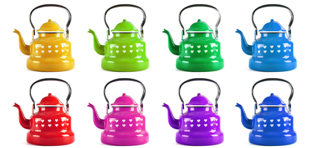 kettles: Colorful Kitchen kettles isolated on white background Foto de archivo