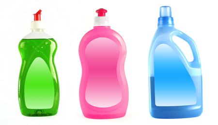 lavar platos: Detergentes aislado en fondo blanco