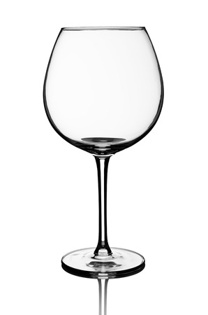 glass of red wine: Empty red wine glass isolated on white background