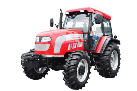 aislado: Nuevo tractor agrícola roja aislada en el fondo blanco Foto de archivo