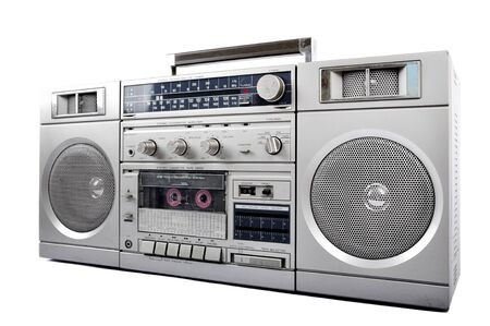 boom box: 1980s Silver retro, boom box and headphone isolated on white Stock Photo