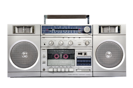 rap music: 1980s Silver radio boom box with cassette isolated on white background Stock Photo