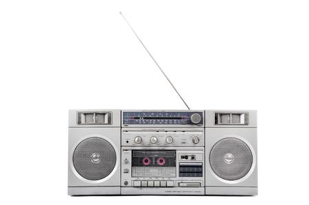 1980 년대 실버 라디오 붐 박스 안테나에 고립 된 화이트