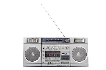 boom box: 1980s Silver radio boom box with antenna up isolated on white