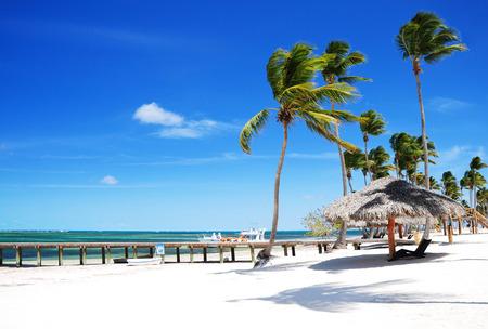 cana: Beautiful at sandy tropical beach in Punta Cana, Bavaro Stock Photo