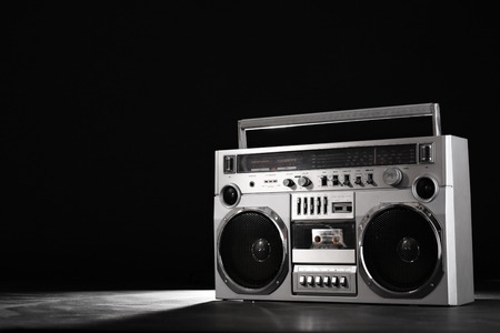 Retro ghetto blaster isolated on black background