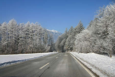 wooded: A road through a wooded area in the winter. Mountains visible at the horizon. Taken in Lichtenstein.