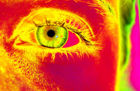 adjusted:  Closeup of a left female eye with long eyelashes. Colors adjusted to achieve popart feeling.
